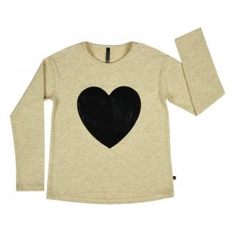 bluzka dziewczęca z sercem z ekoskórki