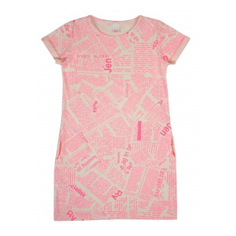 sukienka z kieszonkami i neonowym nadrukiem - A-6812
