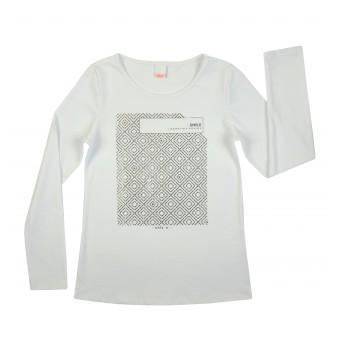 bluzka ze srebrnym nadrukiem