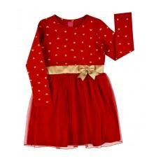 czerwona sukienka z tiulem - A-7974