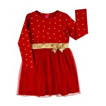 czerwona sukienka z tiulem