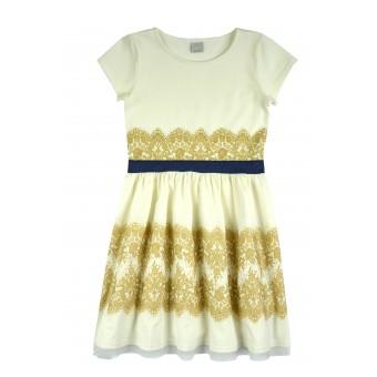 sukienka ze złotym nadrukiem