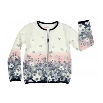 pikowana bluza dziewczęca długi zamek - A-7117