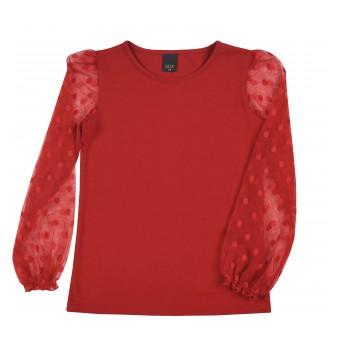 bluzka  dziewczęca z rękawami z siateczki - A-9683